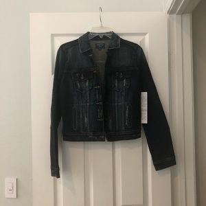 NWT Just USA dark distressed denim jacket S small